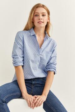 Springfield Textured Polka-Dot Shirt bluish