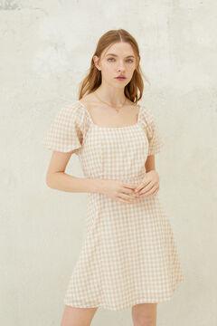 Springfield Gingham voluminous sleeve dress brown