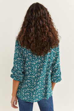 Springfield Printed Flounced Blouse green water