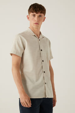 Springfield Short-sleeved textured bowling shirt brown