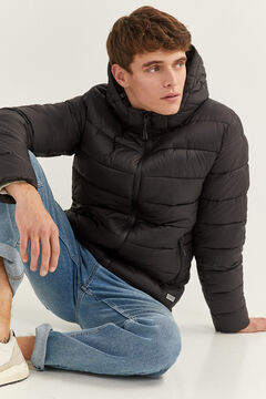 Springfield QUILTED JACKET WITH DUPONT™ SORONA® PADDING AND REMOVABLE HOOD black