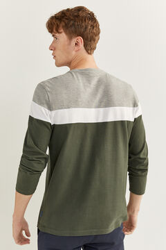 Springfield LONG-SLEEVED COLOUR BLOCK PIQUÉ T-SHIRT dark green