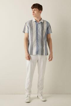 Springfield Camisa lino bowling rayas azulado