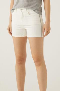 Springfield Multicoloured band denim shorts white