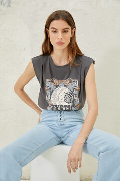 Springfield Graphic print shoulder pads t-shirt gray