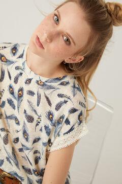 Springfield Printed crochet sleeves T-shirt ecru