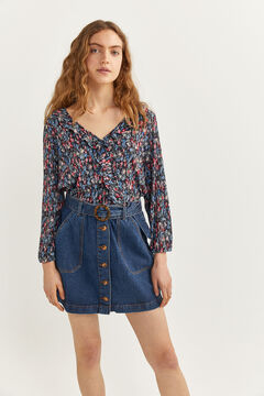 Springfield Flounced collar blouse blue mix