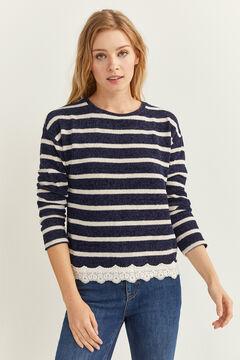 Springfield Chenille Lace Hem T-Shirt blue