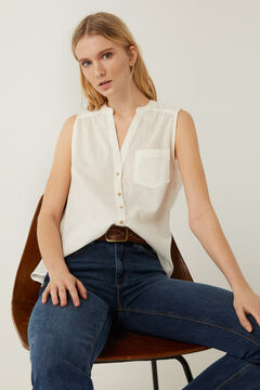 Springfield Tailored organic linen and cotton blouse ecru