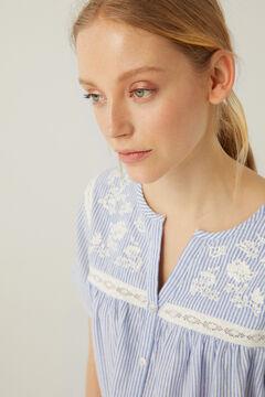 Springfield Blusa lace bordados azulado