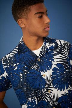 Springfield Tropical print short-sleeved shirt navy mix