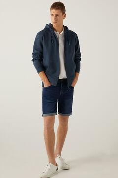 Springfield Slim fit dark wash denim Bermuda shorts blue