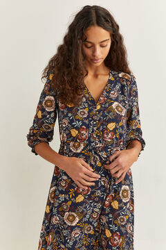 Springfield Floral midi dress blue