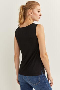 Springfield Camiseta escote lace transparencias negro