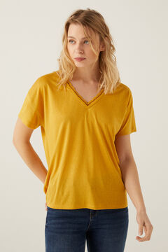 Springfield Cut jersey-knit t-shirt with lace neckline yellow