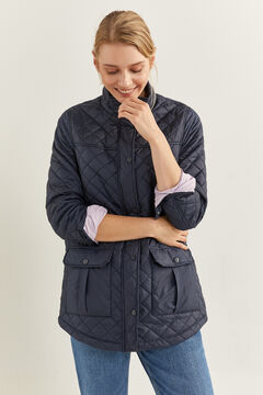 Springfield Long quilted jacket steel blue