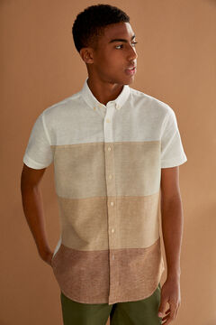 Springfield Colour block linen shirt camel