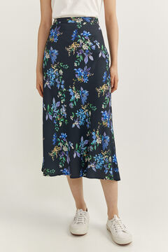 Springfield Printed long skirt blue mix