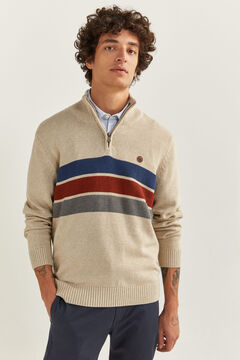 Springfield STRIPED ZIP-UP NECK JUMPER camel