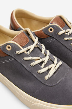 Springfield Lace-up sneaker in split leather grey mix