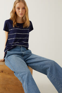 Springfield Sequin striped t-shirt steel blue