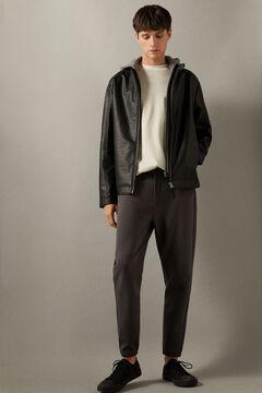 Springfield Cazadora motera efecto piel capucha negro