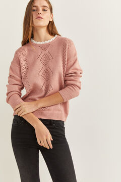 Springfield Lace Openwork Collar Jumper strawberry