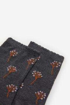 Springfield Calcetín flores ramillete gris