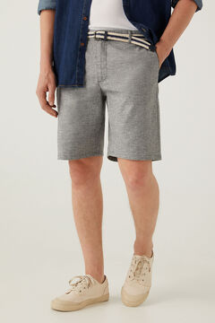 Springfield Two-tone linen belted shorts grey mix