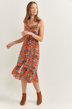 Springfield Flounced midi dress red