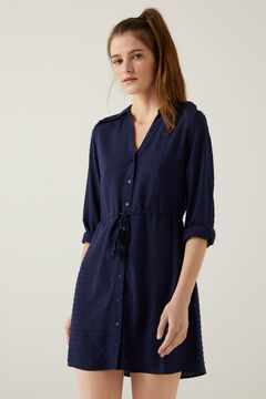 Springfield Relief embroidered polka-dot shirt dress steel blue
