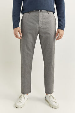 Springfield PANTALON CHINO STRUCTURÉ BICOLORE DAILY SMART demi gris
