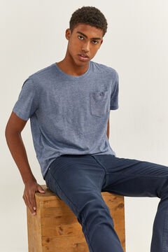 Springfield Textured t-shirt with pocket blue