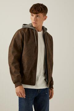 Springfield Bomber efecto piel capucha marrón