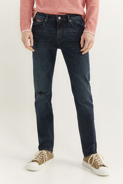 Springfield VERY DARK WASH SLIM FIT JEANS WITH RIPS steel blue