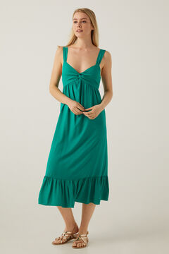 Springfield Knot neckline midi dress dark green