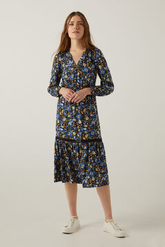 Springfield Sustainable viscose lace midi dress steel blue