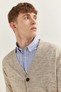 Springfield Patterned yarn cardigan tan