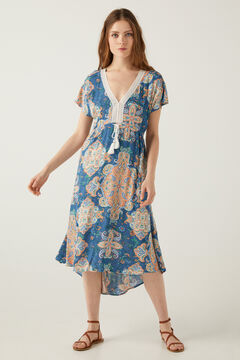 Springfield Printed kimono dress royal blue