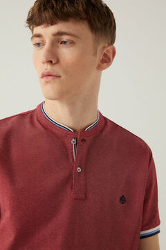 Springfield Slim fit mandarin collar polo shirt with tipping deep red