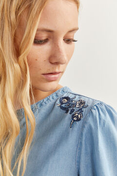 Springfield Embroidered denim shirt steel blue