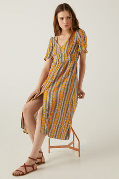 Springfield Vertical borders midi dress golden