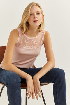 Springfield Sheer lace neckline t-shirt red