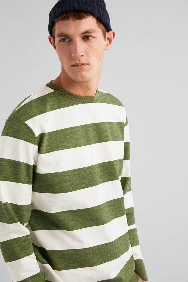 Springfield Sudadera cuello caja rayas verde hoja d7f9b8c546330