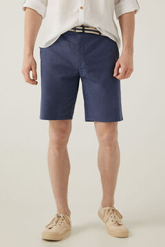 Springfield Two-tone linen belted shorts blue