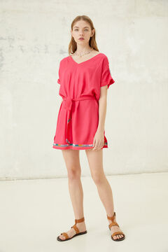 Springfield Belted borders tunic dress ecru