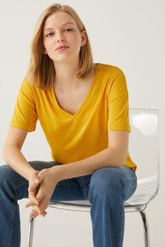 Springfield V dekoltázsú, szegecselt póló sárga