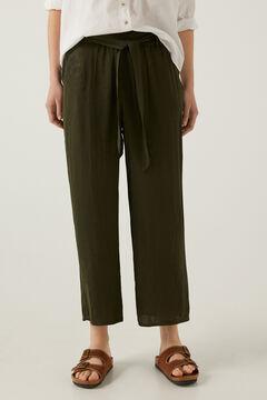 Springfield Pantalón fluido culotte verde bosque