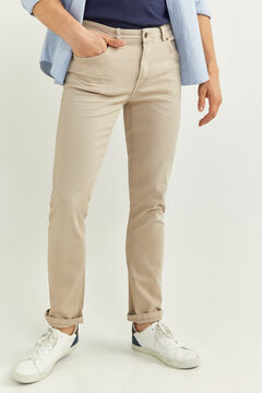 Springfield SLIM FIT WASHED 5-POCKET TROUSERS camel