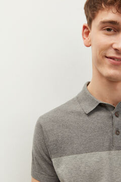 Springfield Colour block jersey-knit polo shirt gray
